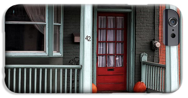 Red School House iPhone Cases - Red Door in Lambertville iPhone Case by John Rizzuto