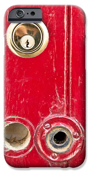 Red door lock iPhone Case by Tom Gowanlock