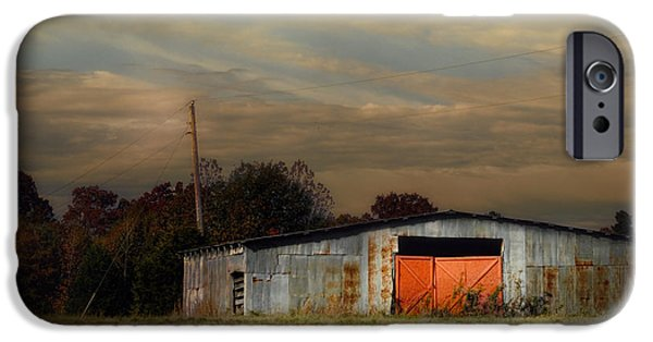Fall Scenes iPhone Cases - Red Doors - Barn at Sunset iPhone Case by Jai Johnson