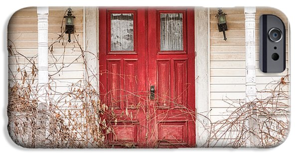 Porch iPhone Cases - Red doors - Charming old doors on the abandoned house iPhone Case by Gary Heller