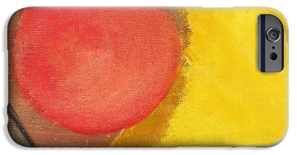 Component Paintings iPhone Cases - Red Dot iPhone Case by David s Newsome