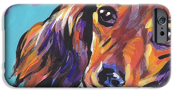 Dog iPhone Cases - Red Doxie Baby iPhone Case by Lea