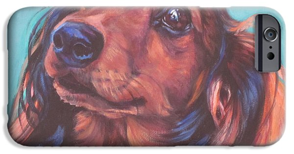 Dachshund Art iPhone Cases - Red Doxie iPhone Case by Lee Ann Shepard