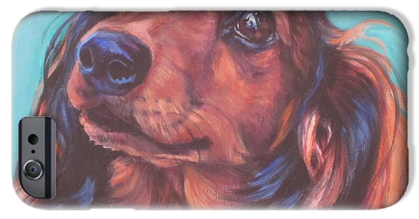 Recently Sold -  - Puppies iPhone Cases - Red Doxie iPhone Case by Lee Ann Shepard