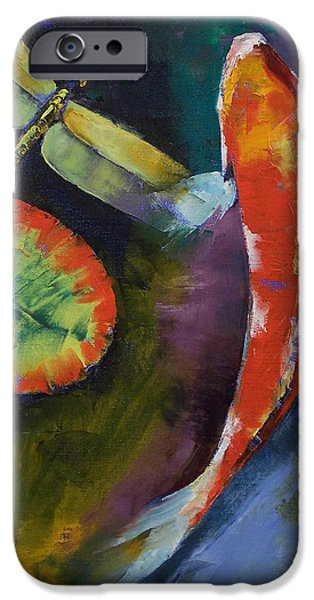 Michael Paintings iPhone Cases - Red Dragon Koi iPhone Case by Michael Creese