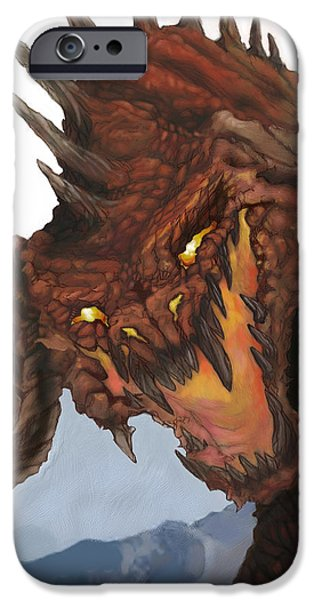 Dungeons iPhone Cases - Red Dragon iPhone Case by Matt Kedzierski