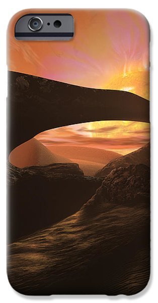 Science Paintings iPhone Cases - Red Dwarf Sun iPhone Case by Don Dixon