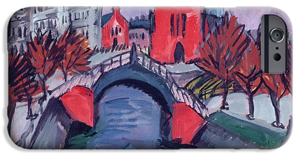 Abstract Expressionist iPhone Cases - Red Elisabeth Riverbank Berlin iPhone Case by Ernst Ludwig Kirchner