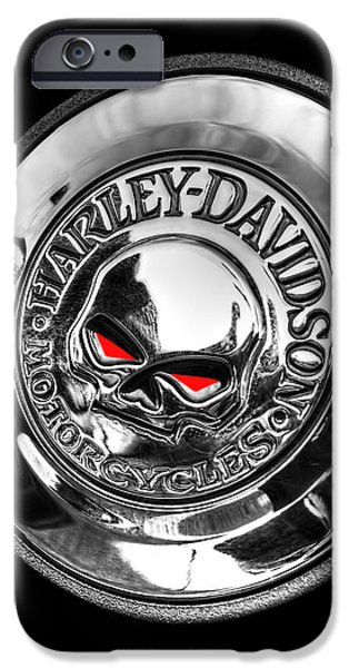 Cave iPhone Cases - Red Eye Harley Skull iPhone Case by Gill Billington