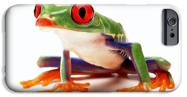 Spring Peepers Paintings iPhone Cases - Red-eye tree frog 1 iPhone Case by Lanjee Chee