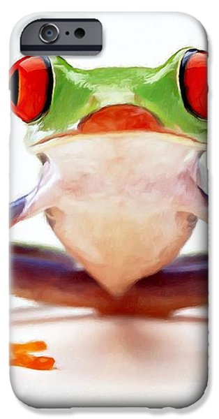 Red-eye tree frog 2 iPhone Case by Lanjee Chee
