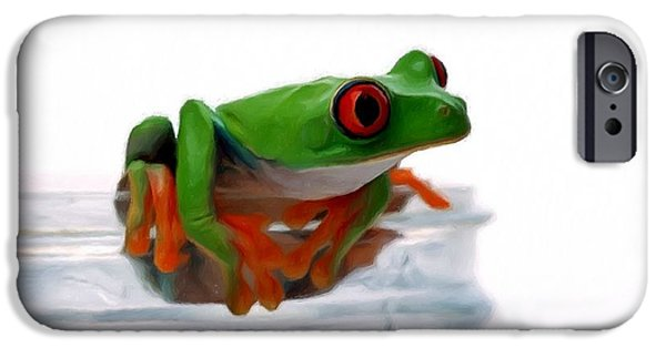 Spring Peepers Paintings iPhone Cases - Red-eye Tree Frog 5 iPhone Case by Lanjee Chee