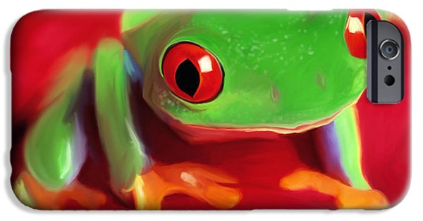 Red Eye iPhone Cases - Red Eye Tree Frog iPhone Case by Paul Tagliamonte