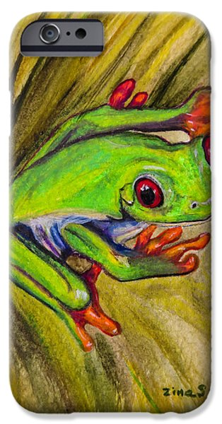 Tropical Paintings iPhone Cases - Red eyed frog iPhone Case by Zina Stromberg