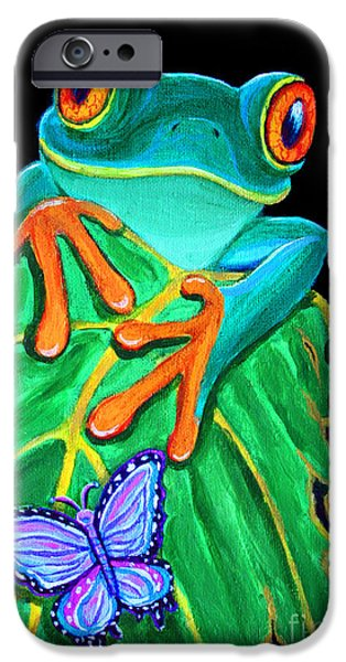 Amphibian iPhone Cases - Red-eyed tree frog and butterfly iPhone Case by Nick Gustafson