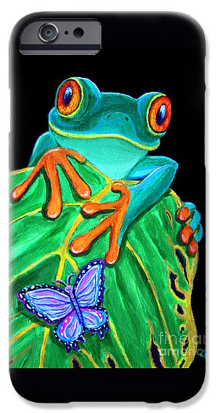 Rain iPhone Cases - Red-eyed tree frog and butterfly iPhone Case by Nick Gustafson