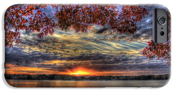 Pastureland iPhone Cases - Red Fall Leaves Sunset Lake Oconee iPhone Case by Reid Callaway
