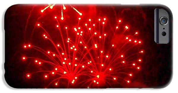 4th Of July iPhone Cases - Red Fireworks iPhone Case by Janette Boyd