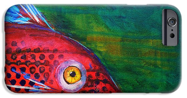 Betta iPhone Cases - Red Fish iPhone Case by Nancy Merkle