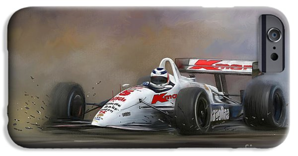 Indy Car Digital iPhone Cases - Red Five - Nigel Mansell iPhone Case by Linton Hart