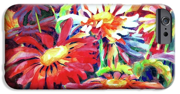 Garden Scene Paintings iPhone Cases - Red Floral Mishmash iPhone Case by Kathy Braud