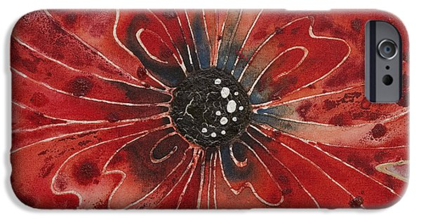 Upbeat iPhone Cases - Red Flower 1 - Vibrant Red Floral Art iPhone Case by Sharon Cummings