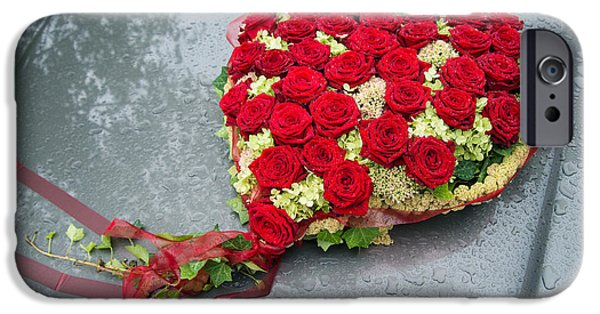 Heart Made Of Rose iPhone Cases - Red flower heart with roses - beautiful wedding flowers iPhone Case by Matthias Hauser