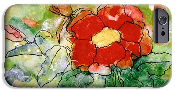 Red Abstract iPhone Cases - Red flower iPhone Case by Louise Adams