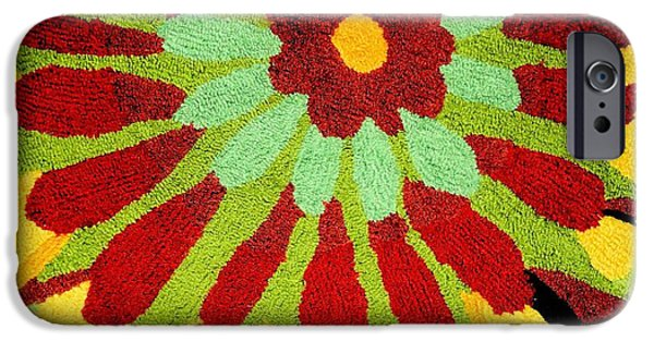 Photographs Tapestries - Textiles iPhone Cases - Red Flower Rug iPhone Case by Janette Boyd