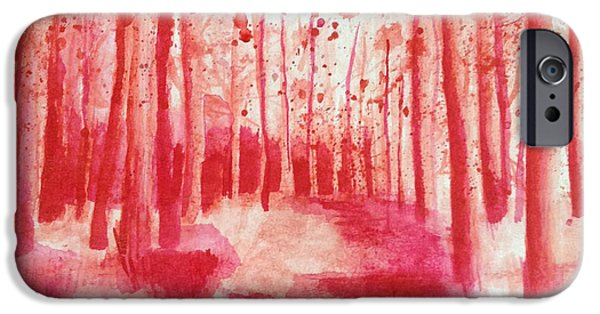 Monotone Drawings iPhone Cases - Red Forest iPhone Case by Cathryn Jenner