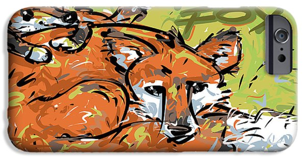 Rust Drawings iPhone Cases - Red Fox iPhone Case by Brett LaGue