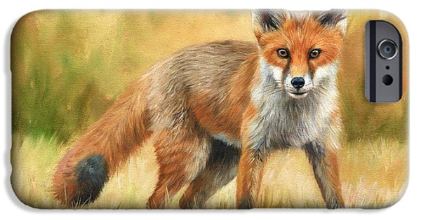 Fox Paintings iPhone Cases - Red Fox iPhone Case by David Stribbling