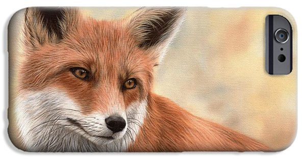 Fox iPhone Cases - Red Fox Painting iPhone Case by Rachel Stribbling