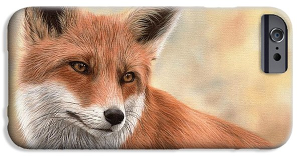 Fox Paintings iPhone Cases - Red Fox Painting iPhone Case by Rachel Stribbling