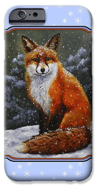 Fox Paintings iPhone Cases - Red Fox Snowflakes iPhone Case by Crista Forest
