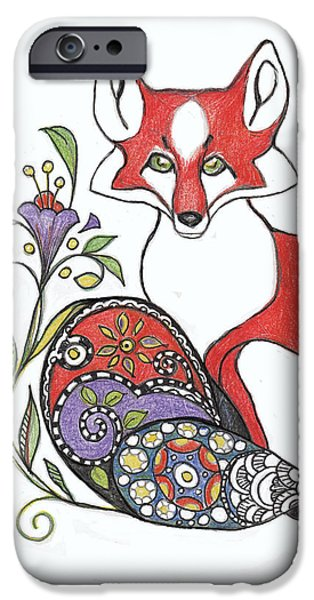 Colored Pencil Abstract Drawings iPhone Cases - Red Fox with Paisley Tail iPhone Case by Peggy Wilson
