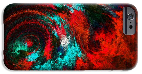 Fury Digital Art iPhone Cases - Red Fury iPhone Case by Lourry Legarde