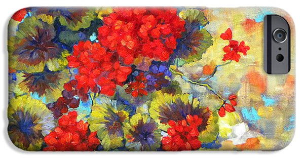 Red Geraniums iPhone Cases - Red Geraniums II iPhone Case by Peggy Wilson