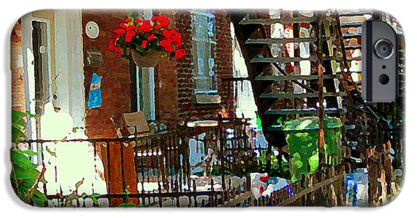 Montreal Memories. iPhone Cases - Red Geraniums Verdun Winding Staircases Hanging Flower Basket Montreal Porch Scene Carole Spandau iPhone Case by Carole Spandau