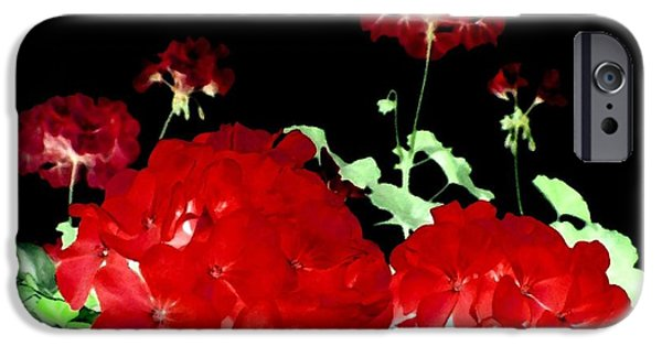Red Geraniums iPhone Cases - Red Geraniums iPhone Case by Will Borden