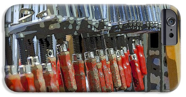 Work Tool iPhone Cases - Red glue clamps iPhone Case by Patricia Hofmeester