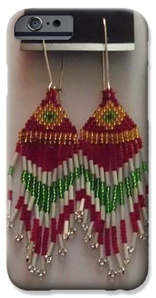 Red Jewelry iPhone Cases - Red Gold Green and White Handwoven Tassel Earrings iPhone Case by Kimberly Johnson
