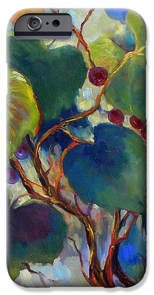 Red Grape Vines iPhone Case by Peggy Wilson