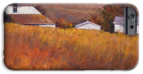 Farm Landscape Pastels iPhone Cases - Red Grass iPhone Case by Beverly Amundson