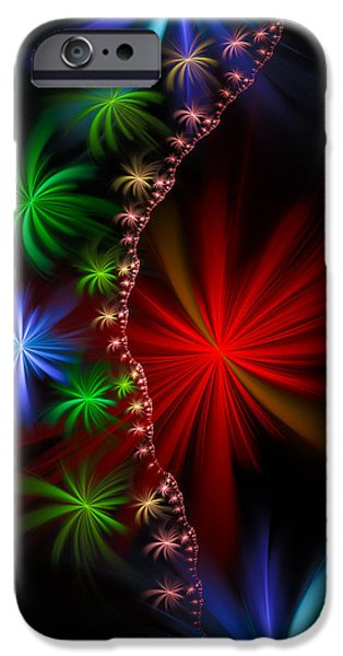 Red Fireworks iPhone Cases - Red green and blue fractal stars iPhone Case by Matthias Hauser