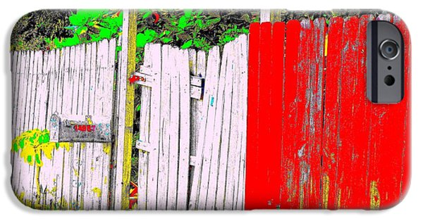 Bamboo Fence Digital iPhone Cases - Red Grey Gate 0552 14 iPhone Case by Nina Kaye