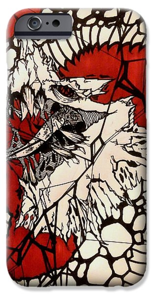 Serpent Mixed Media iPhone Cases - Red Greyscale Serpent iPhone Case by Michael Washington