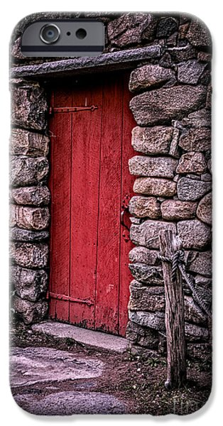 Grist Mill iPhone Cases - Red Grist Mill Door iPhone Case by Edward Fielding