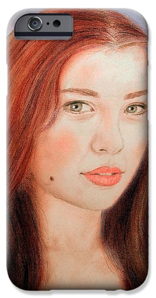 Beauty Mark Mixed Media iPhone Cases - Red Hair and Blue Eyed Beauty with a Beauty Mark II iPhone Case by Jim Fitzpatrick