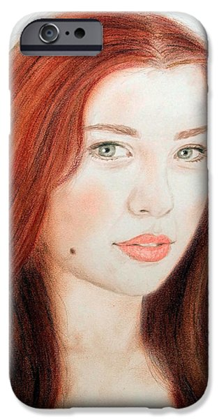 Beauty Mark Mixed Media iPhone Cases - Red Hair and Blue Eyed Beauty with a Beauty Mark iPhone Case by Jim Fitzpatrick